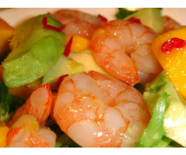 Рецепт                  Салат с креветками, дыней и авокадо